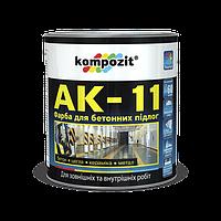 Краска для бетонных полов АК-11 Серая KOMPOZIT, 10 кг (4820085741164)