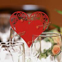 50шт формы сердца лазерной резки бумаги перламутровый свадьба название карты места бокал партии аксессуары, фото 1