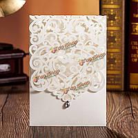 1шт лазерная резка выдолбить бриллиантовую свадьбу вечерние приглашения карты персонализированные конверты печатей
