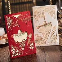 10шт лазерная резка пара выдолбить свадебные вечерние приглашения карты персонализированные конверты печатей