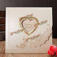 10шт сердце цветок тиснением свадебные приглашения вечерние карточки персонализированные конверты печатей
