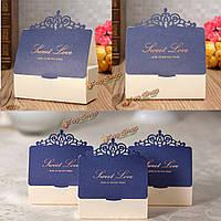 1шт синий бумага лазера выдолбить бриллиантовой свадьбы коробка конфет сладкий Cake подарочные пакеты благосклонности партии, фото 1