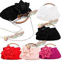 Розочка цвести рюшами сумка/сумочка клатч свадебный металлическую цепь сумочка, фото 1
