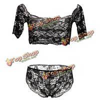 Сексуальные кружева bralet топ с г-струнной ночное белье Babydoll пижамы