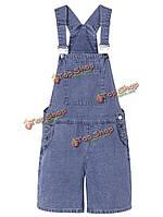 Случайные женщин ремень твердых карман джинсовый комбинезон комбинезон