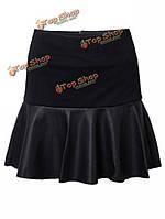 Женская мода ламинированный PU кожаная юбка мини-юбка