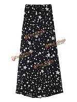 Сексуальные звезды напечатаны высокой талии перерезал женщин шифон юбка макси