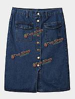 Карманные женщины однобортный высокой талии щели джинсовой юбки миди
