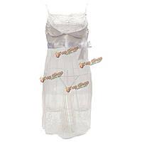 Женщины сексуальные ремни перспективе кружева белый платье Babydoll ночное белье пижамы