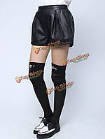 Женщины моды черный эластичный пояс карман свободные PU кожаные шорты