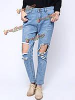 Женщины заниженной талией голубой избитые отверстия брюки длинные джинсы