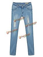 Середина талии тонкие джинсы из денима в старинном мытье с ремонтом разрыва