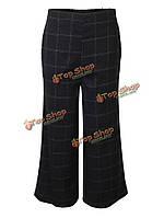 Элегантных женщин полосой плед упругие талии брюки Капри Палаццо