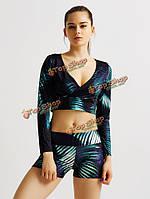 Сексуальные женщины 3d растения печати стрейч Yoga фитнес-спортивные шорты