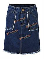 Женщин вскользь высокая талия-линии джинсовой короткой юбке