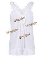 Случайные сексуальные женщины белое кружево вязание крючком заплатки без рукавов шифон блузка