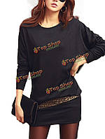 Платье длинный рукав эластичное выше колена