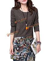 Платье с длинным рукавом женское на каждый день цветочные фотопечать