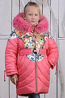 Зимнее пальто для девочек с подстежкой из овчины.42р