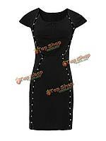Элегантные женское заклепки на молнии с коротким рукавом высокой платье приталеное