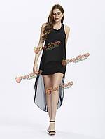 Сексуальное женское без рукавов твердый поддельные двойное высокое низкое платье, фото 1