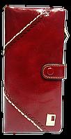 Женский кошелек красный кожаный с белой ниткой
