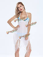 Сексуальные женщины бахрома пэчворк асимметричный бикини прикрыть мини-платье