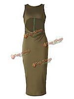 Армия зеленый рукавов полый пакет повязку бедра до колена длина платье офисное