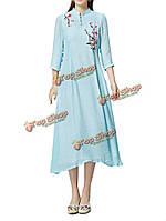 Элегантный цветок вышивка кнопка женское белье макси платье