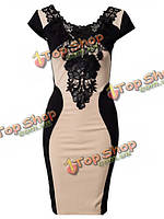 Женщин кружева вышивки с коротким рукавом колен офис вечернее платье