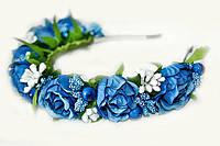 Обруч украшение для волос Розы синие