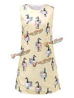 Элегантные женщины шеи экипажа без рукавов печати летом мини-платье