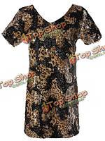 Платье короткое с короткими рукавами золотые блестки