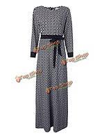 Винтажные элегантные женское плед с длинным рукавом длиной до пола платье с поясом, фото 1