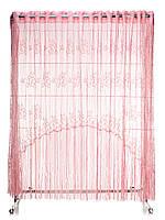 Тюль для кухни готовая,темно-розовая завиток