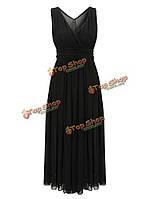 Women Bohemian Solid Color V-Neck Sleeveless Chiffon Maxi Dress