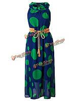 Элегантных Женское недоуздок горошек шифон макси платье с поясом