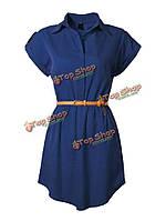 Женщины случайный ол шифон лацкане коротким рукавом платье с поясом