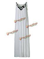 Сексуальное женское без рукавов металлический цвет лоскутное пляжное макси сарафана