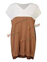 Женщин с коротким рукавом V-образным вырезом вязать свитер свободно лоскутное рубашку платье