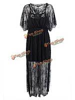Женственное Женское кружева вязание крючком вырез высокого разделить макси платье - туника
