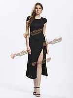 Женщины разделить длинное платье черного кружева назад потрясающий выпускного вечера макси щель вечер