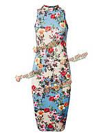 Безрукавно Bodycon Женское цветочный принт экипаж Шея элегантный Платье