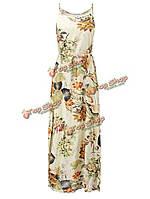 Богемные красивое цветочный ремешок раскол макси платье пляжное