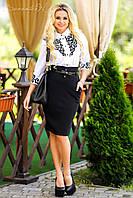 Белая женская блуза  с перфорированной ажурной аппликацией Севентин 44-50 размеры