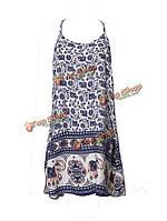 Женственное пляжное свободный стиль женское цветочные ремень платье мини с открытой спиной
