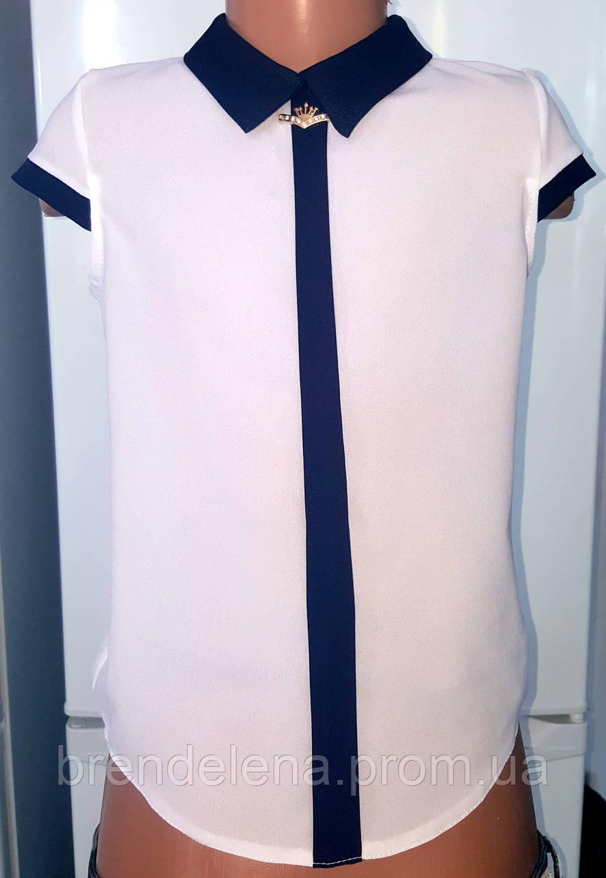 Белая блуза для девочки с коротким рукавом и темно-синим воротником. р.30-38