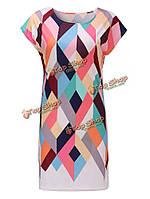 Случайные 3d геометрические напечатанный стрейч bodcyon платье для женщин