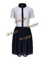 Леди кружева платье плиссе рубашка с отложным воротником синее платье
