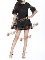 Элегантная вышивка твердых рябить красивое-Line платье для женщин